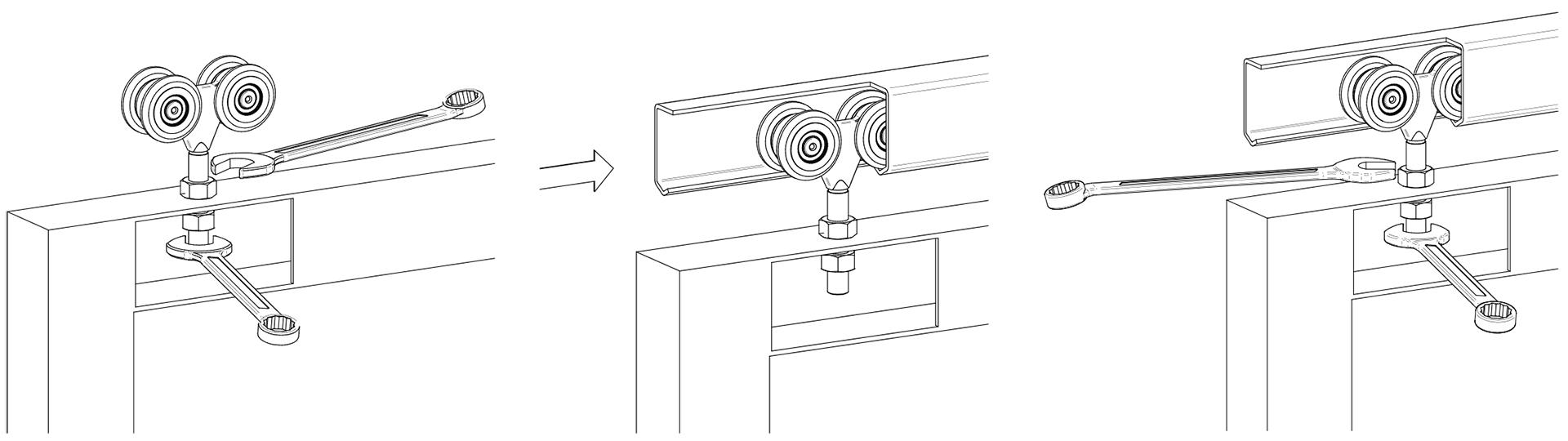 Γκαραζόπορτες, μηχανισμός για συρόμενες κρεμαστές