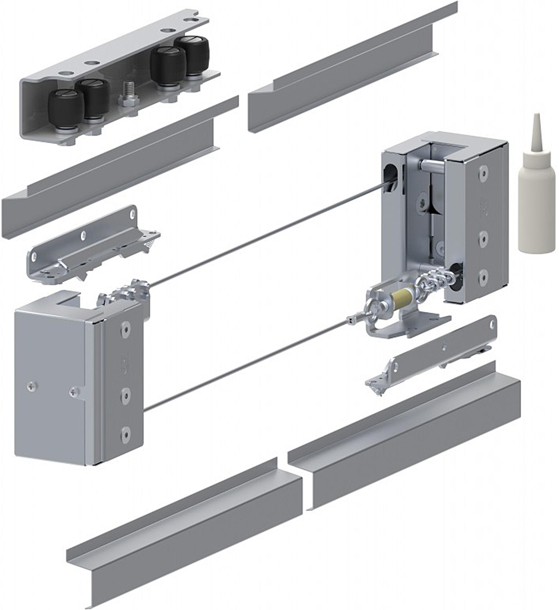 Γκαραζόπορτες, μηχανισμός για τηλεσκοπικές με τρία φύλλα
